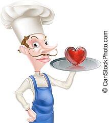 caricatura, chef, con, corazón