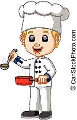 caricatura, chef, con, un, cucharón