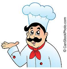 caricatura, chef, en, grande, sombrero