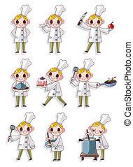 caricatura, chef, icono