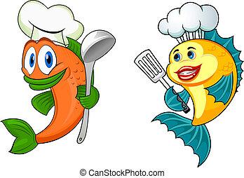 caricatura, chef, pez, caracteres