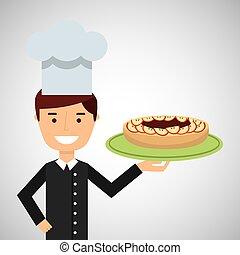 caricatura, chef, postre, sabroso, pastel, manzana