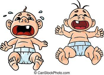 caricatura, chorando, bebês, com, abertos, bocas