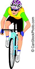 caricatura, ciclistas