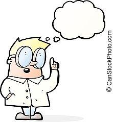caricatura, científico, con, burbuja del pensamiento