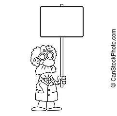 caricatura, científico, con, señal