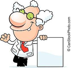 caricatura, científico loco, señal