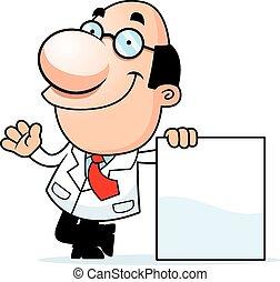 caricatura, científico, señal