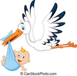 caricatura, cigüeña, proceso de llevar, bebé