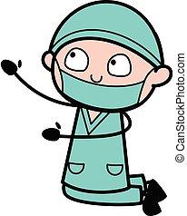 caricatura, cirujano, mendigar