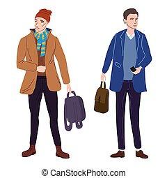 caricatura, clothes., ilustración, estilo, aislado, vector, moda, casual, plano, estudiantes, otoño, calle, cubrir, pareja, moderno, characters., joven, moderno, ropa de calle