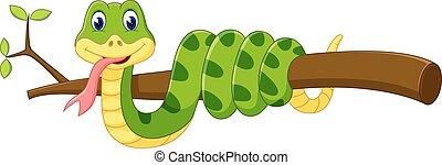 caricatura, cobra, cute, verde