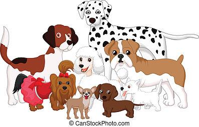 caricatura, cobrança, cão