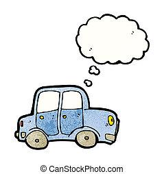 caricatura, coche, con, burbuja del pensamiento