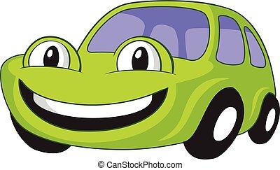 caricatura, coche, humanized