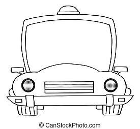 caricatura, coche, policía, contorneado