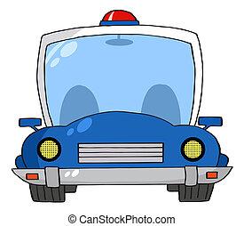 caricatura, coche, policía