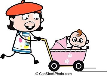 caricatura, cochecito del bebé, artista
