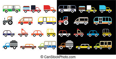 caricatura, coches
