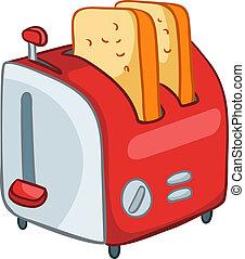 caricatura, cocina casera, tostadora