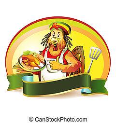 caricatura, cocinero, coco