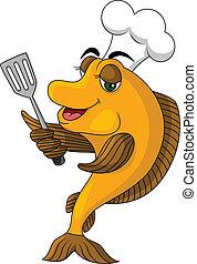 caricatura, cocinero, pez
