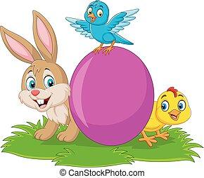 caricatura, coelho, bebê, capim, ovo, bluebird, pintinho