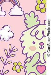 caricatura, coelho, flores, coração, arco íris, cute, decoração, nuvens