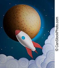 caricatura, cohete, delante de, el plan