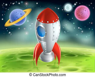 caricatura, cohete, en, extranjero, planeta