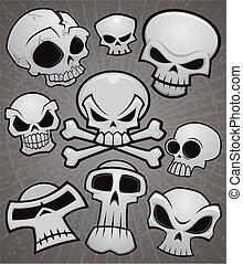caricatura, colección, cráneo