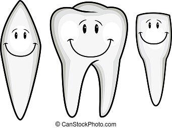 caricatura, colección, diente