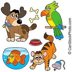 caricatura, colección, mascotas