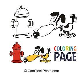 caricatura, coloração, cão, página