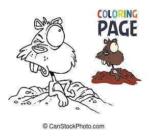 caricatura, coloração, coelhinho, página