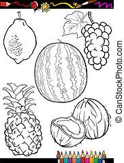 caricatura, coloração, jogo, livro, frutas