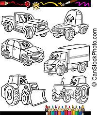 caricatura, coloração, jogo, livro, veículos