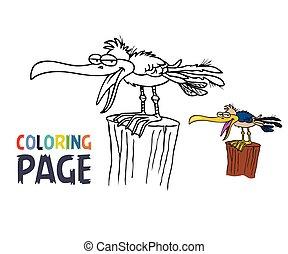 caricatura, coloração, pássaro, página