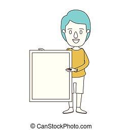 caricatura, colorare, sezioni, blu, capelli, di, pieno...