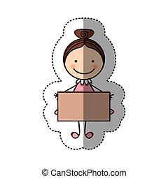 caricatura, colorido, Pegatina, pelo, recogido, niña, bandera