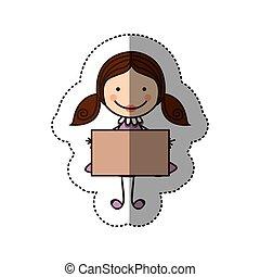 caricatura, colorido, Pegatina, pelo, niña, bandera, coletas