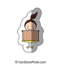 caricatura, colorido, Pegatina, pelo, cola, niña, bandera