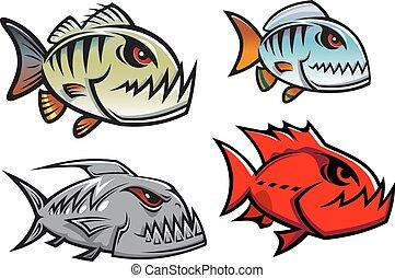 caricatura, colorido, pirhana, pez, caracteres