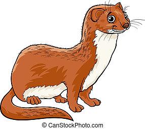 caricatura, comadreja, ilustración, animal