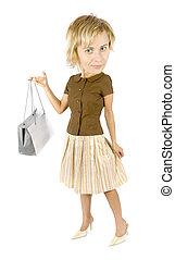 caricatura, compras de mujer