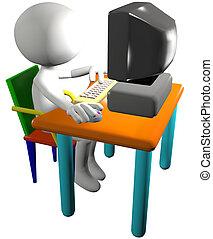 caricatura, computador pc, usos, usuário, 3d, vista lateral