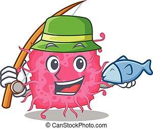 caricatura, conceito, bactérias, desenho, enquanto, pesca, pathogenic