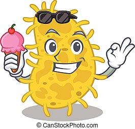 caricatura, conceito, bactérias, desenho, spirilla, gelo, tendo, creme
