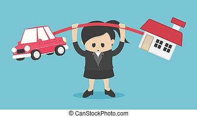 caricatura, concepto, ambos, casa, carga, ilustración, coche...