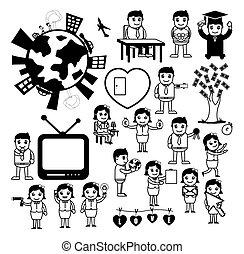 caricatura, conceptos, dibujo, conjunto